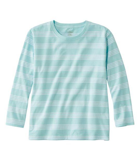 サタデーTシャツ、クルーネック 7分丈袖 ストライプ, , hi-res