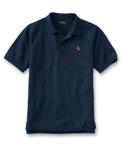 プレミアム・ダブル・エル・ポロシャツ、半袖 赤のビーン・ブーツの刺繍入り, , hi-res