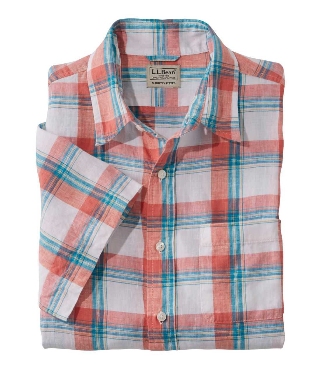 エル・エル・ビーン・リネン・シャツ、半袖 プラッド