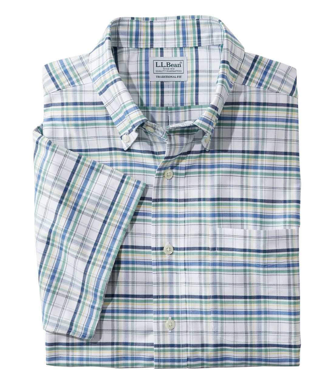 リンクルフリー(形態安定)・クラシック・オックスフォード・クロス・シャツ、半袖 プラッド