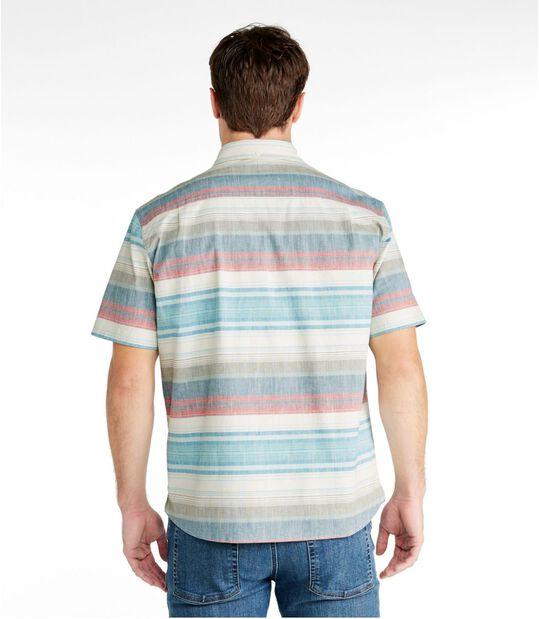 コンフォート・ストレッチ・シャンブレー・シャツ、トラディショナル・フィット 半袖 ストライプ, , hi-res
