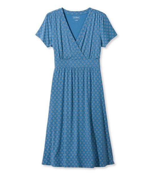 サマー・ニット・ドレス、半袖 ジオ・プリント, , hi-res