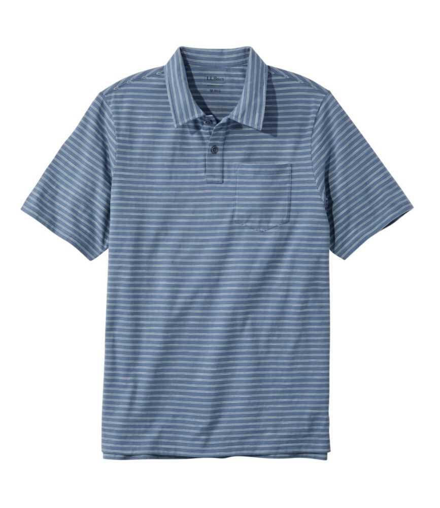 レイクウォッシュ・オーガニック・コットン・ポロシャツ、半袖 ストライプ