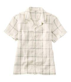 プレミアム・ウォッシャブル・リネン・キャンプ・シャツ、半袖 プラッド, , hi-res