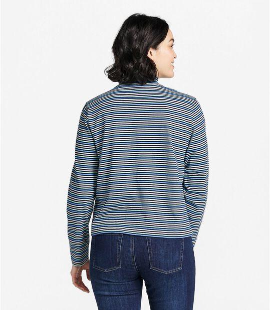 サタデーTシャツ、長袖 モックネック ストライプ, , hi-res