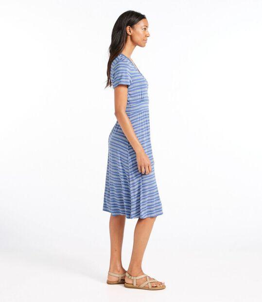 サマー・ニット・ドレス、半袖 ぺブル・ストライプ・プリント, , hi-res