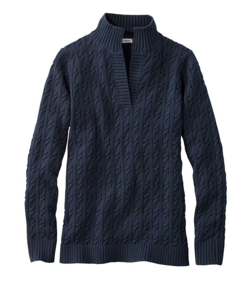 ダブル・エル・ミックスケーブル・セーター、スプリットネック