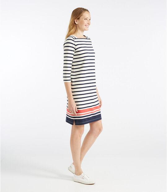 マリナー・スクエアネック・ドレス、カラーブロック, , hi-res