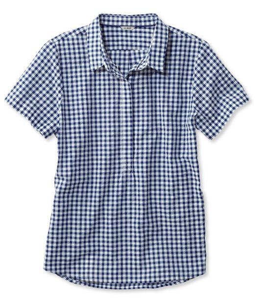 テクスチャード・コットン・ポップオーバー・シャツ、半袖 ギンガム, , hi-res