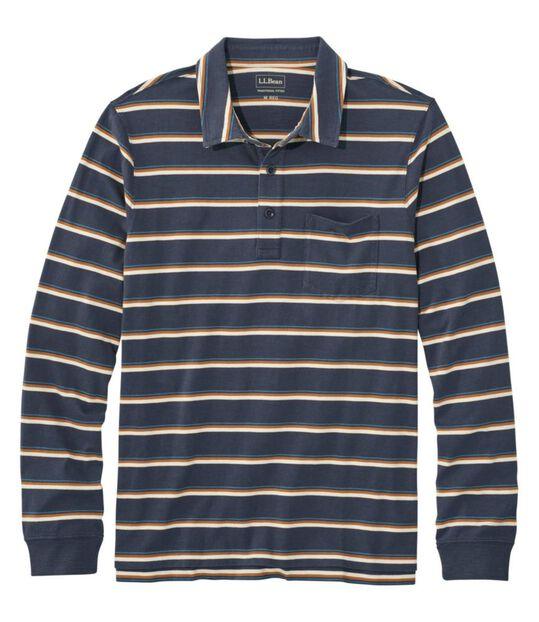 レイクウォッシュ・オーガニック・コットン・ポロシャツ、長袖 ストライプ ポケット付き, , hi-res