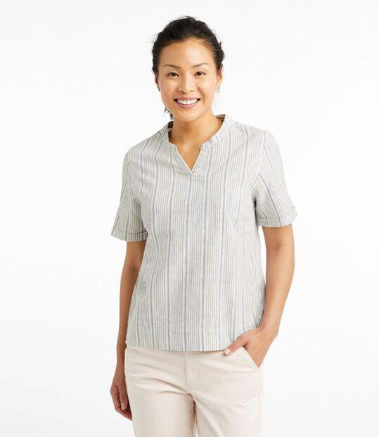 テクスチャード・リネン/コットン・シャツ、半袖 ストライプ, , hi-res