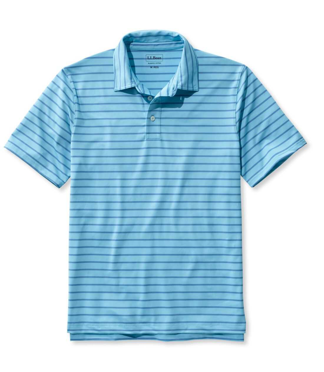 エル・エル・ビーン・ストレッチ・ポロシャツ、半袖 ストライプ