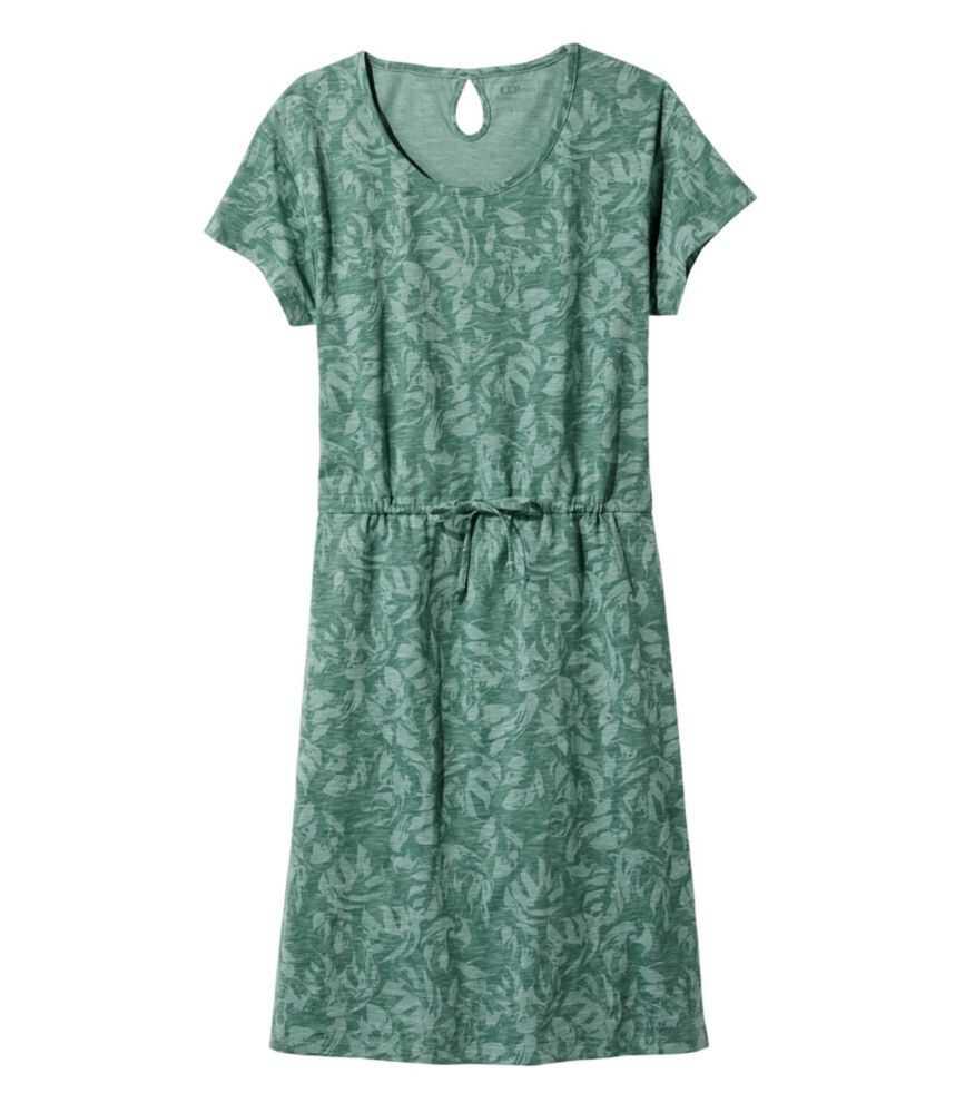 コットン/テンセル・スラブ・ドレス、半袖 タイフロント プリント