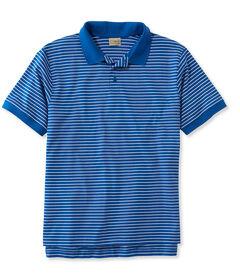 ピマ・コットン・ポロシャツ、トラディショナル・フィット 半袖 ストライプ 袖口にリブ編み付き, , hi-res