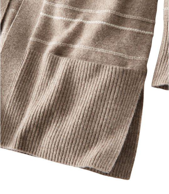 クラシック・カシミヤ・セーター、ポケット付きオープン・カーディガン テクスチャード・ストライプ, , hi-res