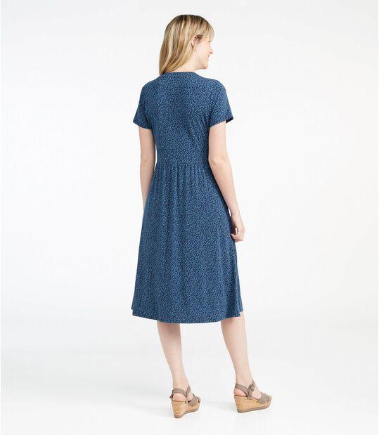 サマー・ニット・ドレス、半袖 ドット・フローラル, , hi-res