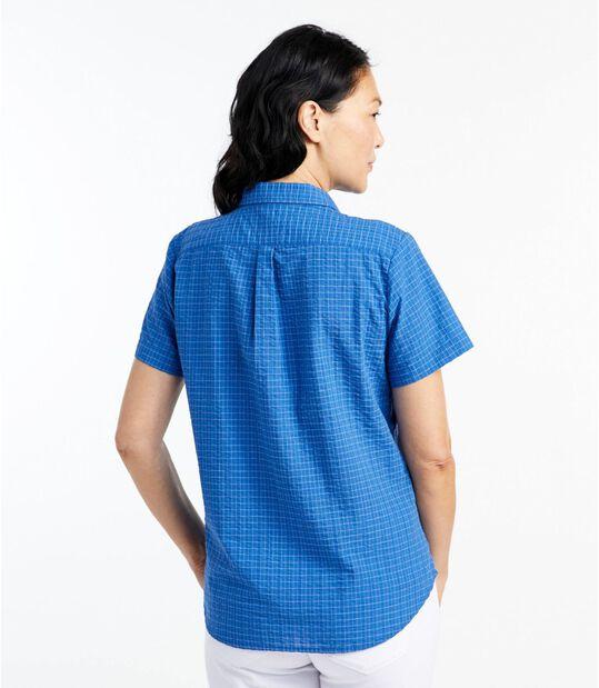 テクスチャード・コットン・ポップオーバー・シャツ、半袖 プラッド, , hi-res