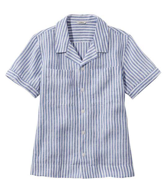 プレミアム・ウォッシャブル・リネン・キャンプ・シャツ、半袖 ストライプ, , hi-res