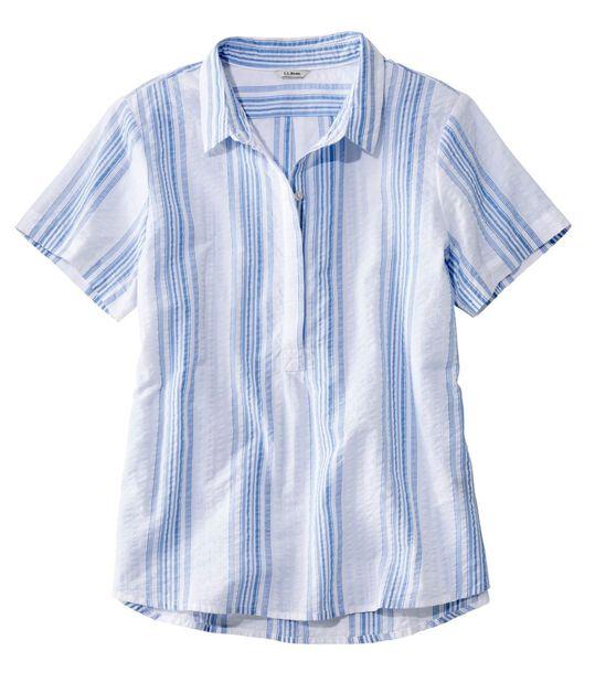 テクスチャード・コットン・ポップオーバー・シャツ、半袖 ストライプ, , hi-res