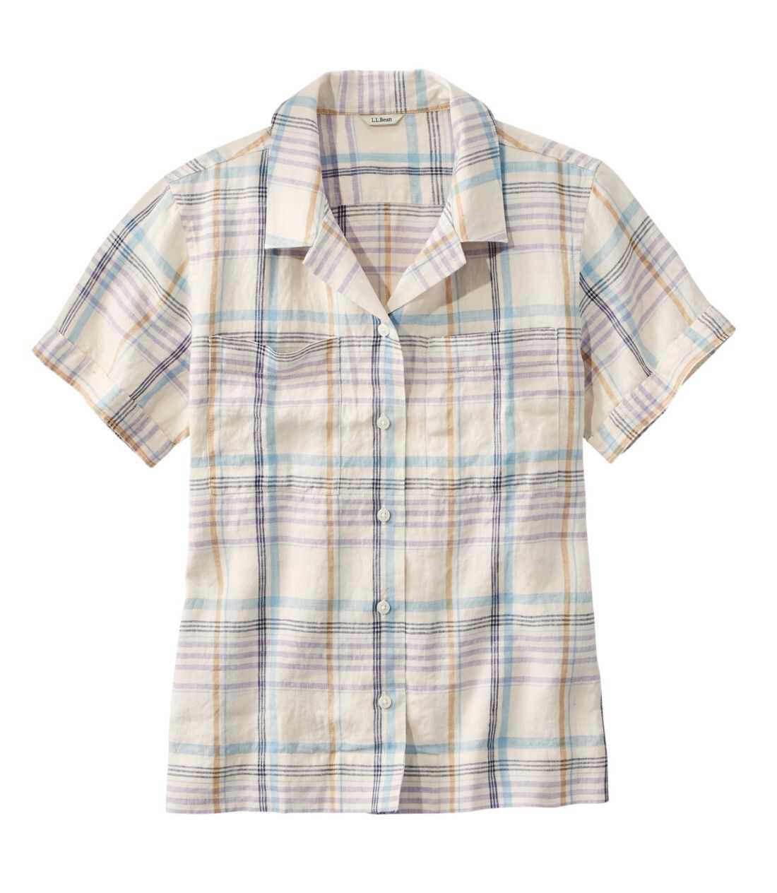 プレミアム・ウォッシャブル・リネン・キャンプ・シャツ、半袖 プラッド
