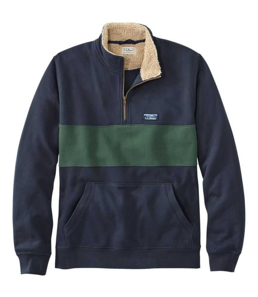 シェルパ・カラー・クォータージップ・スウェットシャツ、カラーブロック