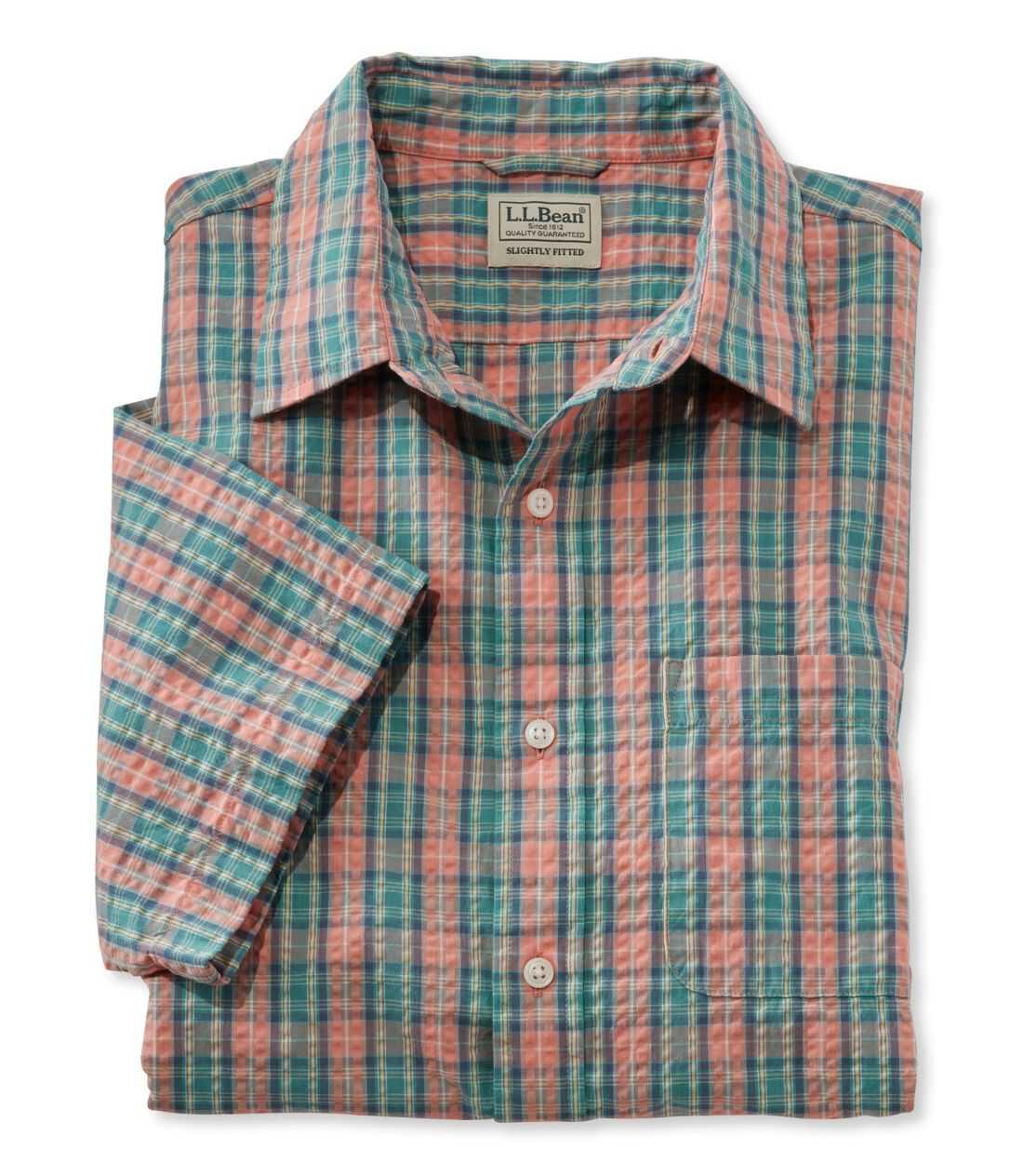 タータン・シアサッカー・シャツ、半袖