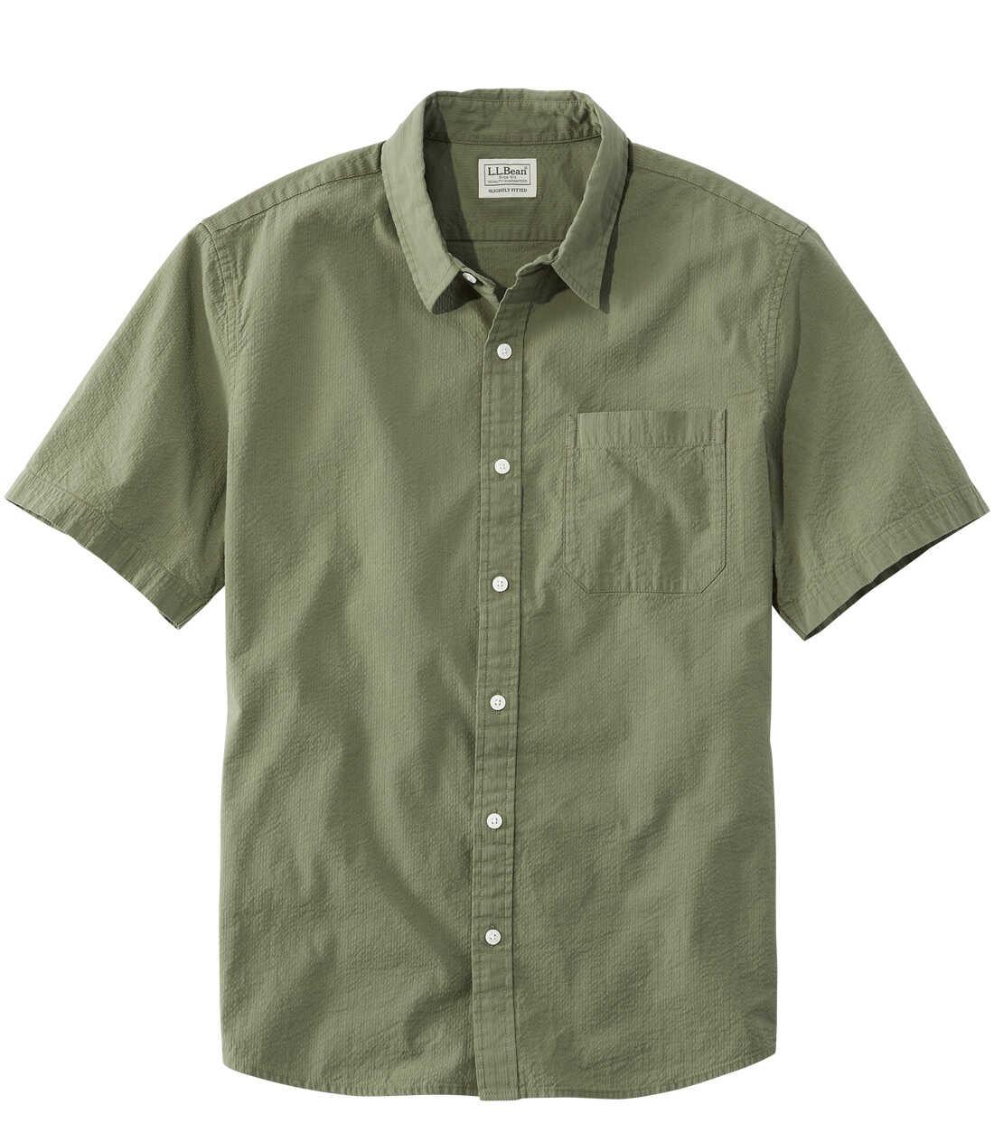 オーガニック・コットン・シアサッカー・シャツ、半袖