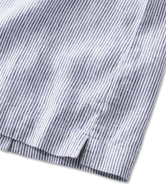 プレミアム・ウォッシャブル・リネン・シャツ、プルオーバー 半袖 ストライプ, , hi-res