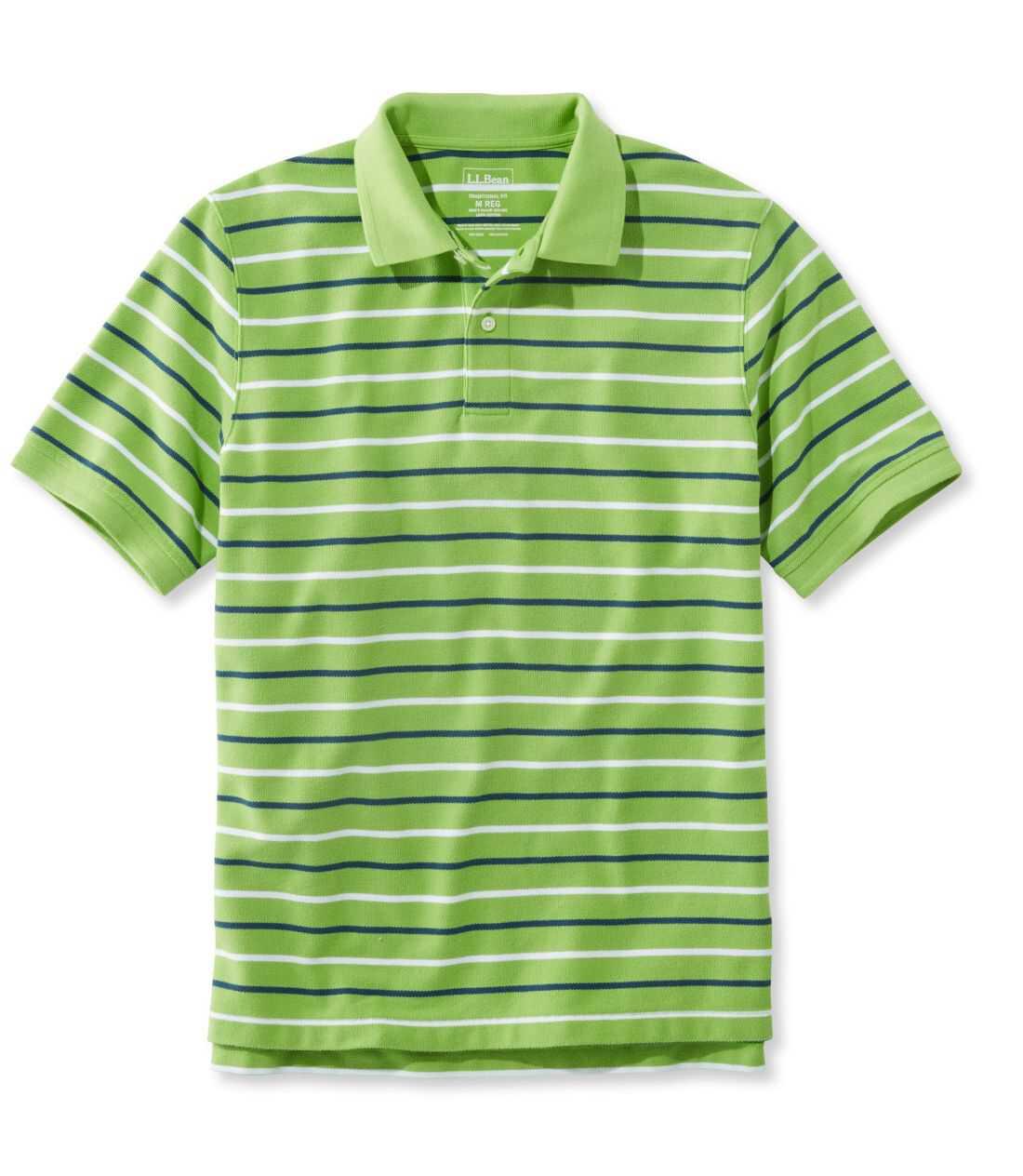 プレミアム・ダブル・エル・ポロシャツ、半袖 ストライプ