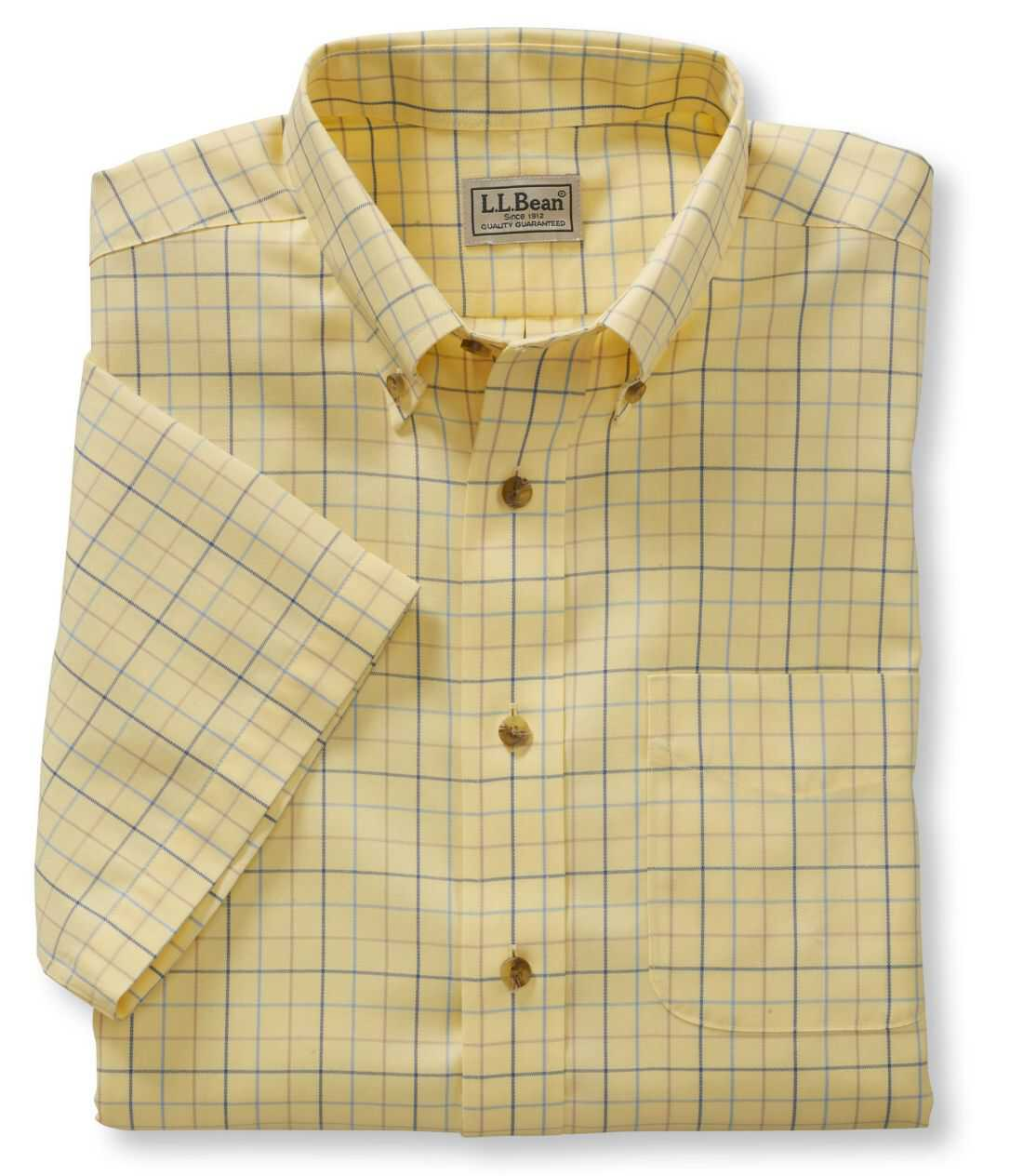 リンクルフリー(形態安定)・ツイル・スポーツ・シャツ、半袖 ウインドウペーン