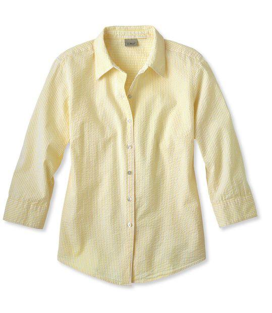 エッセンシャル・シアサッカー・シャツ、7分丈袖, , hi-res