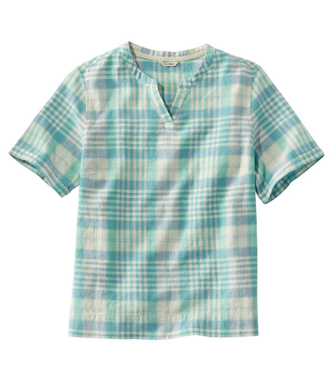 テクスチャード・リネン/コットン・シャツ、半袖 プラッド