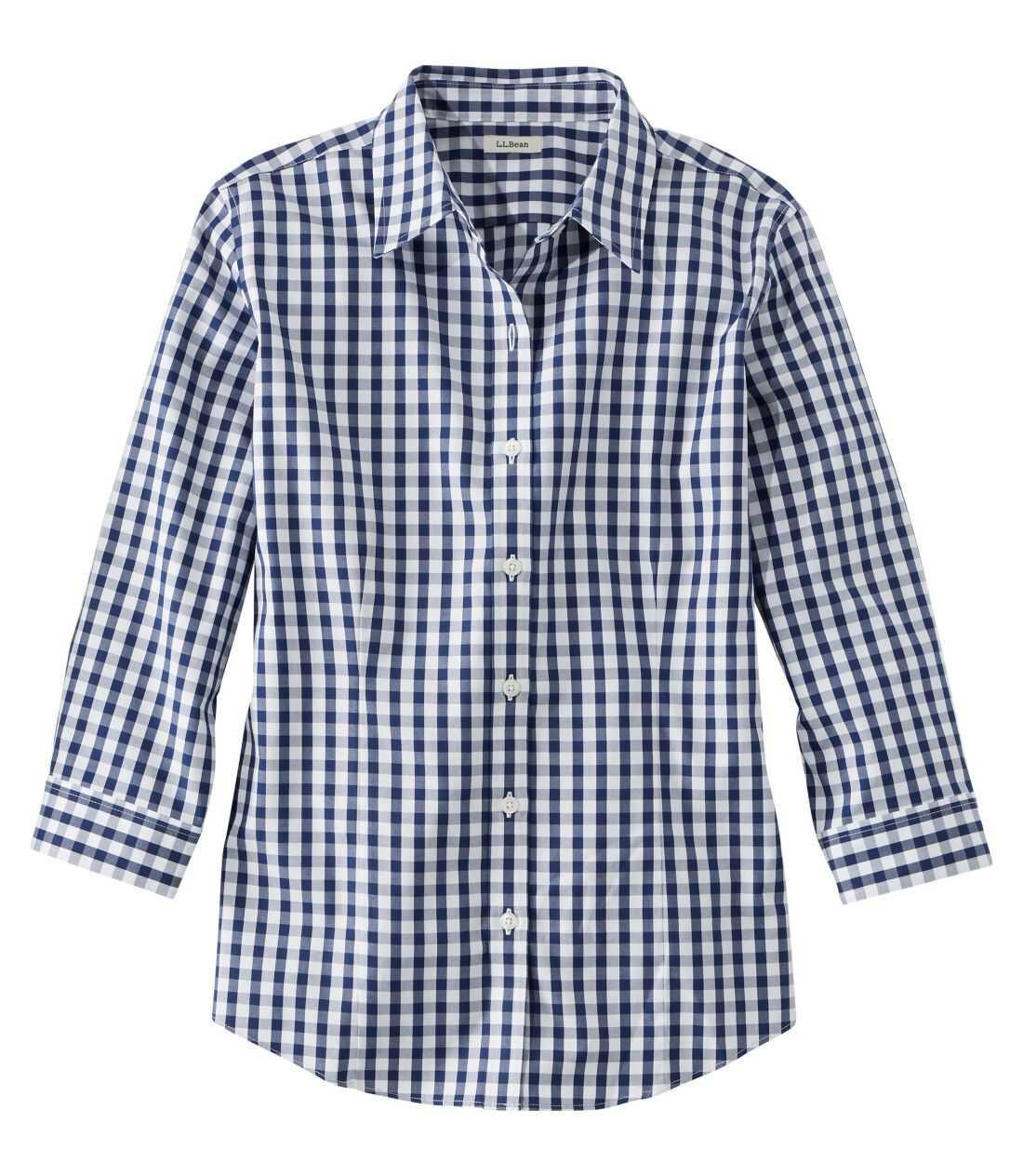 リンクルフリー(形態安定)・ピンポイント・オックスフォード・シャツ、7分丈袖 プラッド