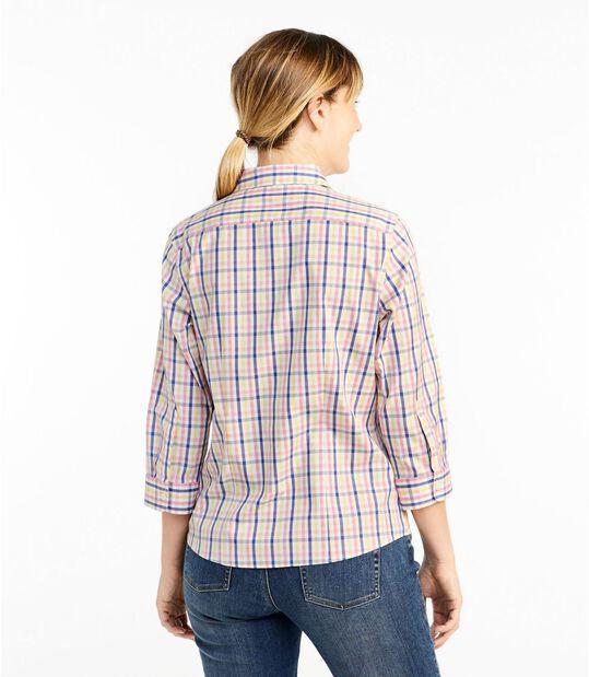 リンクルフリー(形態安定)・ピンポイント・オックスフォード・シャツ、7分丈袖 プラッド, , hi-res