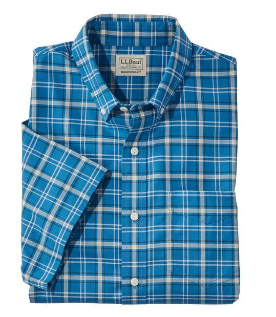 イージーケア・シャンブレー・シャツ、トラディショナル・フィット 半袖 プラッド, , hi-res