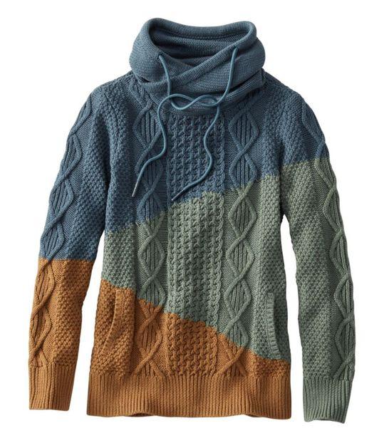 シグネチャー・コットン・ファネルネック・セーター、カラーブロック, , hi-res