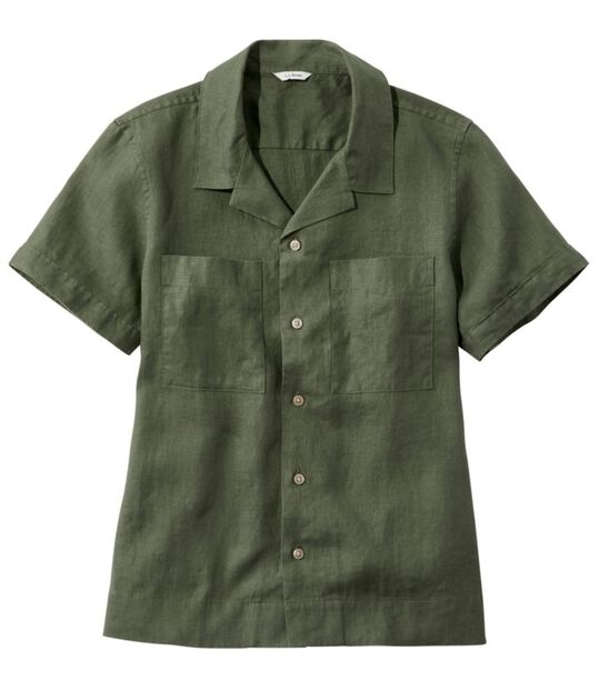 プレミアム・ウォッシャブル・リネン・キャンプ・シャツ、半袖, , hi-res