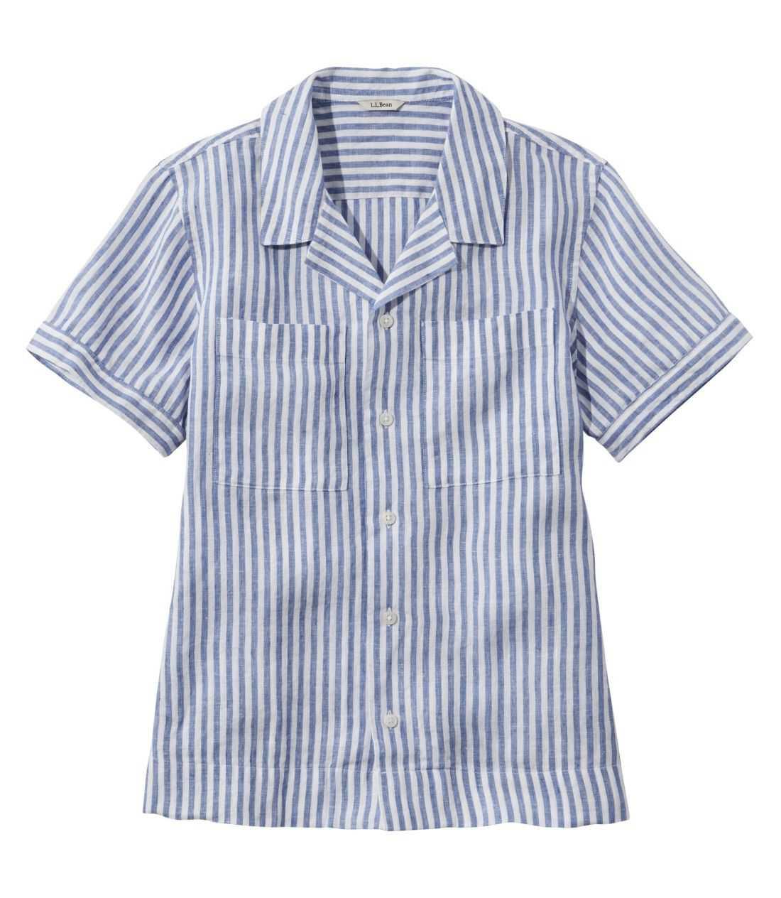 プレミアム・ウォッシャブル・リネン・キャンプ・シャツ、半袖 ストライプ