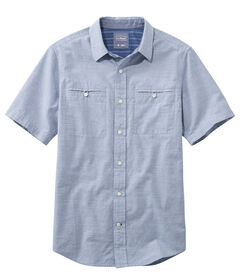 テクスチャード・シャツ、半袖 ストライプ, , hi-res