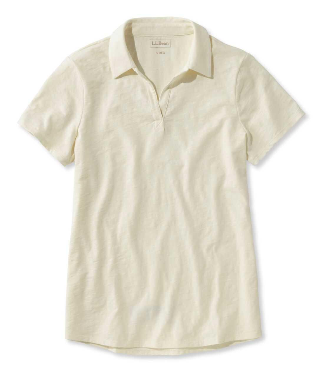 オーガニック・コットン・ティ、半袖 スプリットネック ポロシャツ