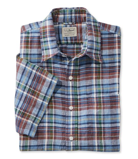 エル・エル・ビーン・リネン・シャツ、半袖 プラッド, , hi-res