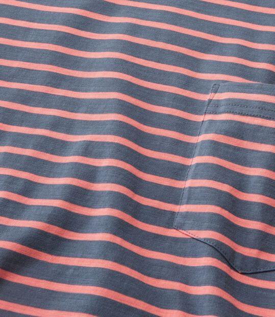 レイクウォッシュ・オーガニック・コットン・ティ、半袖 ポケット付き ストライプ, , hi-res