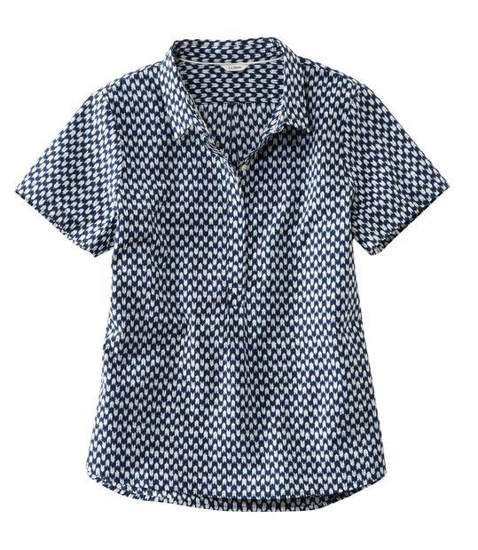 テクスチャード・コットン・ポップオーバー・シャツ、半袖 プリント, , hi-res
