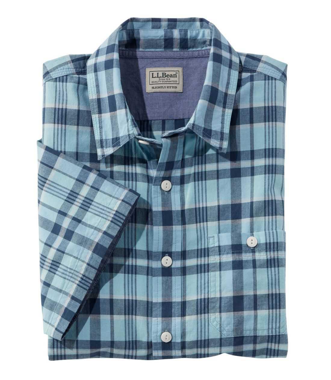 レイクウォッシュ・オーガニック・コットン・キャンプ・シャツ、半袖 プラッド