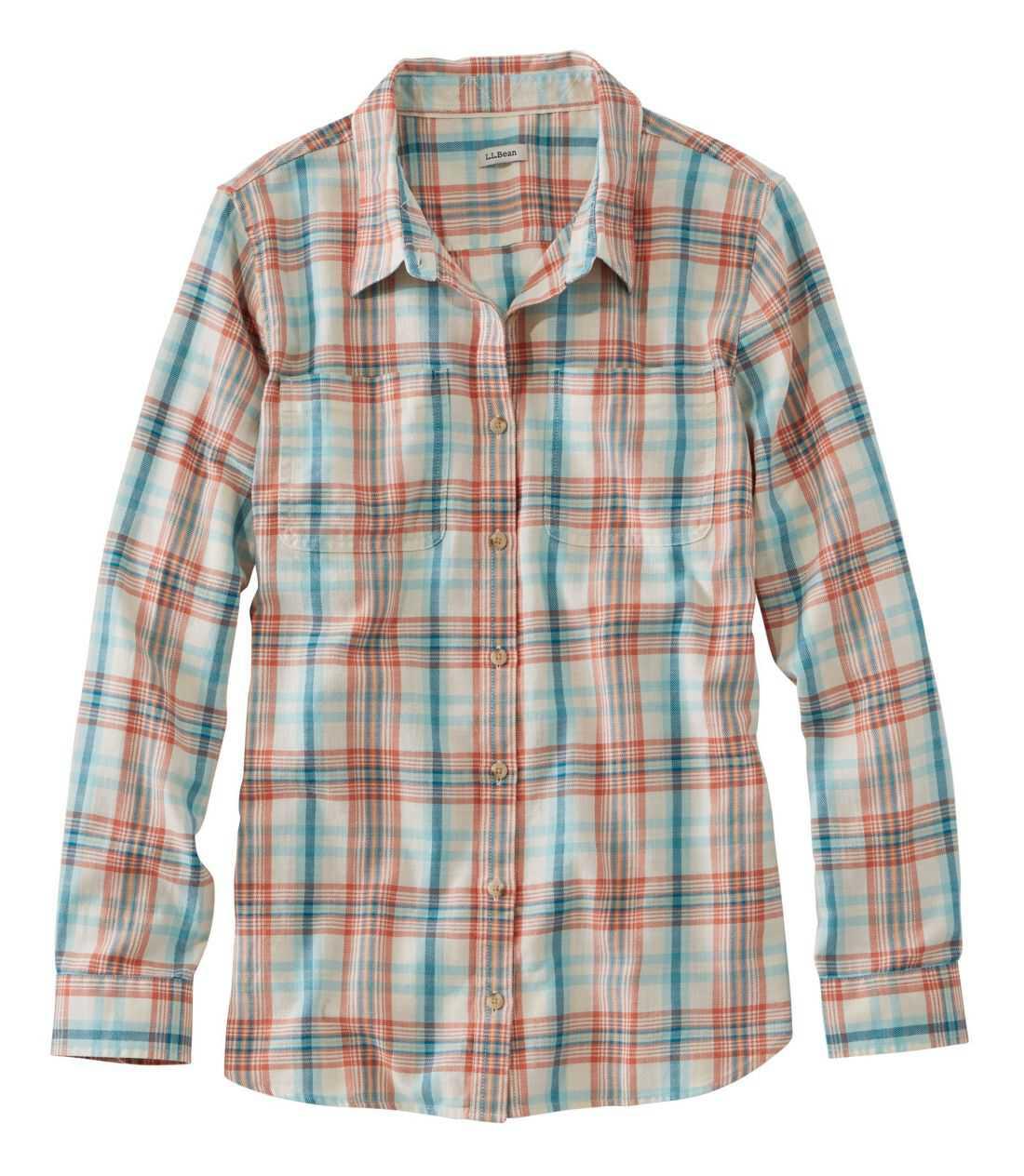エル・エル・ビーン・ヘリテージ・ウォッシュ・ツイル・シャツ、長袖 プラッド