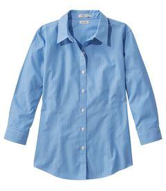 リンクルフリー(形態安定)・ピンポイント・オックスフォード・シャツ、7分丈袖 ストライプ, , hi-res