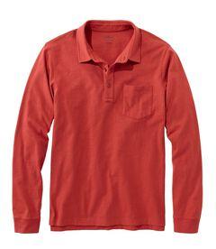レイクウォッシュ・オーガニック・コットン・ポロシャツ、長袖 ポケット付き, , hi-res