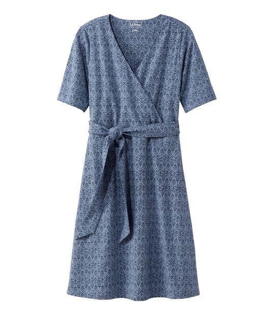 コットン/テンセル・ドレス、ひじ丈袖 プリント, , hi-res