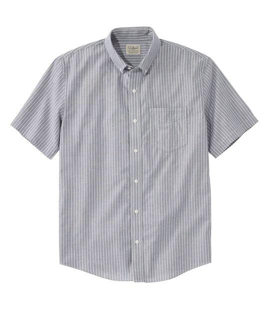 イージーケア・シャンブレー・シャツ、トラディショナル・フィット 半袖 ストライプ, , hi-res
