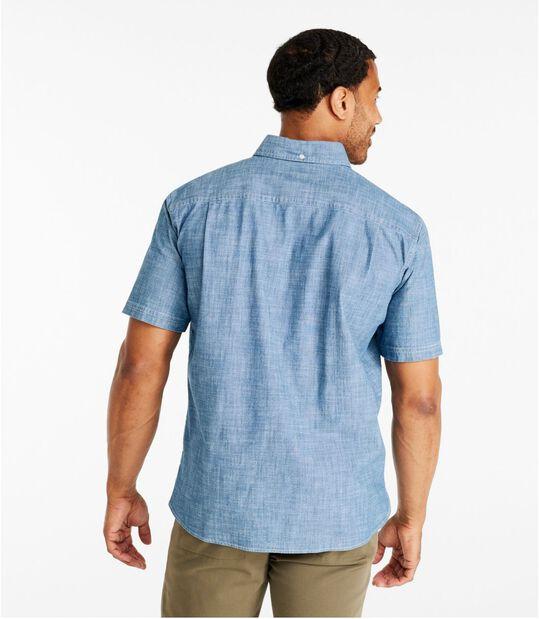 コンフォート・ストレッチ・シャンブレー・シャツ、トラディショナル・フィット 半袖, , hi-res